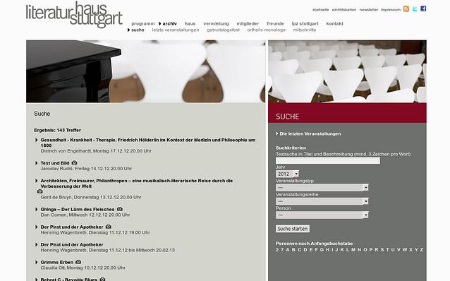 Screenshot: Suche im Archiv, Literaturhaus Stuttgart
