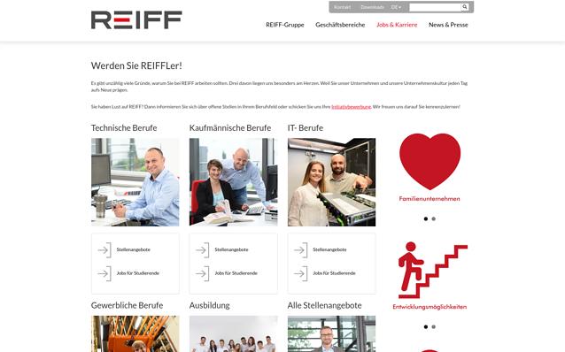 Screenshot: Bereich Karriere, REIFF Gruppe