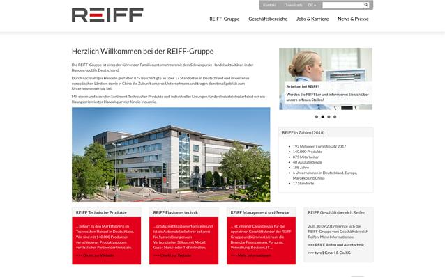 Screenshot: Startseite REIFF Gruppe, Desktop Ansicht