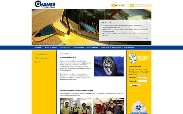 Screenshot: Unterseite Kompletträder, Hanse Trading