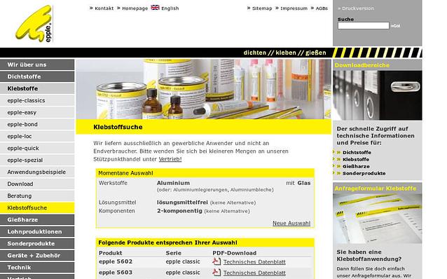 Screenshot: Klebstoffsuche, Epple Chemie