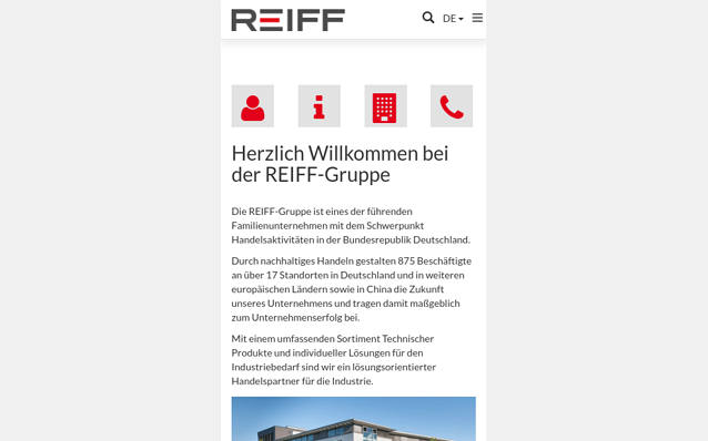 Screenshot: Startseite REIFF Gruppe, Smartphone Ansicht