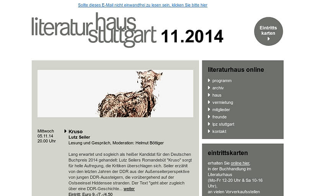 Screenshot: Newsletter, Literaturhaus Stuttgart