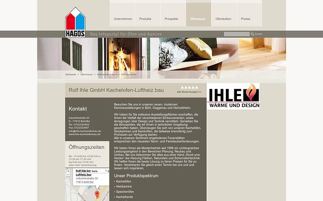 Screenshot: Ofenbauer-Detailseite, HAGOS