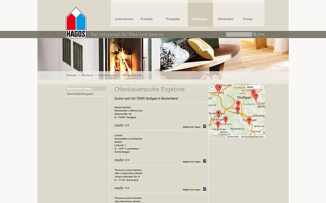 Screenshot: Suche nach Ofenbauern, HAGOS