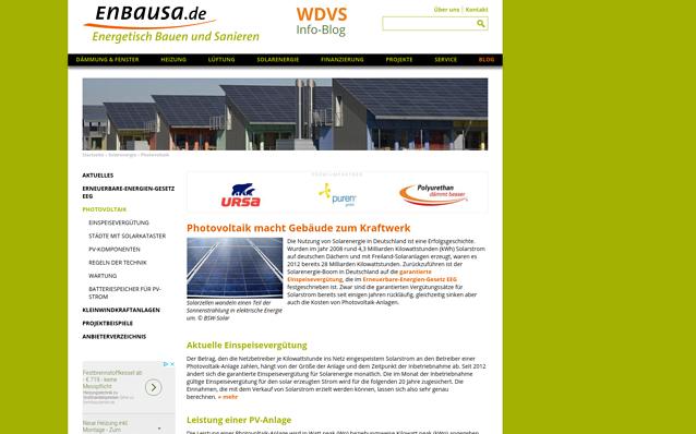 Screenshot: Inhaltsseite, enbausa.de