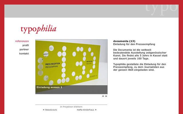Screenshot: Referenzprojekt mit Bildergalerie, Typophilia