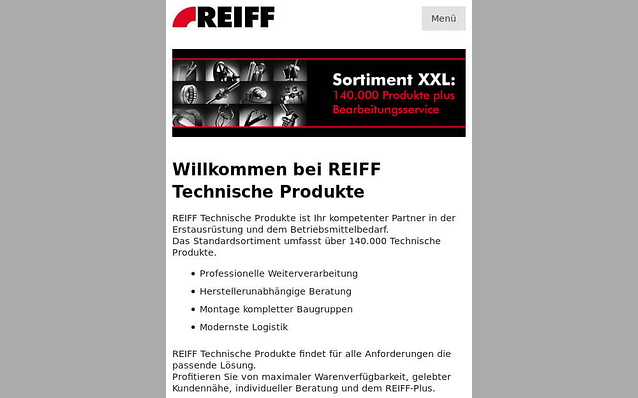 Screenshot: Mobilversion, REIFF Technische Produkte