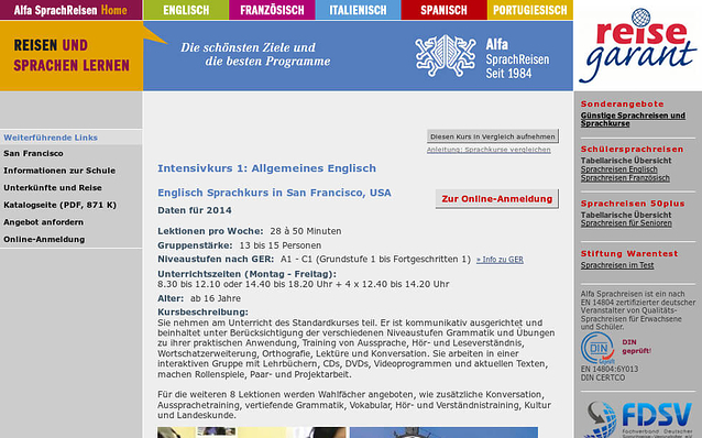 Screenshot: Sprachkurs, Alfa Sprachreisen