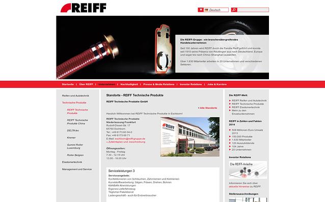 Screenshot: Standort-Detail, REIFF-Gruppe