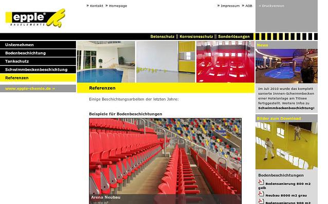 Screenshot: Startseite, Epple Bauelemente