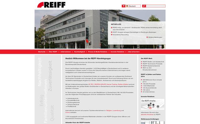 Screenshot: Startseite, REIFF-Gruppe