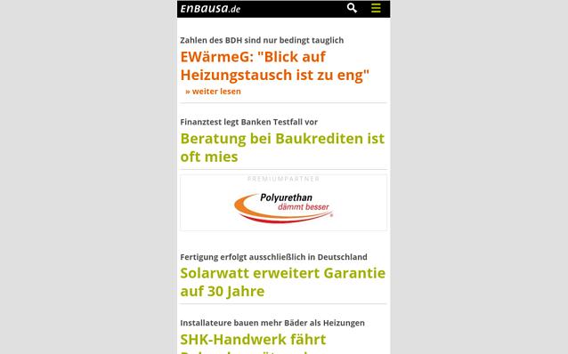 Screenshot: Startseite Portal, Ansicht Smartphone