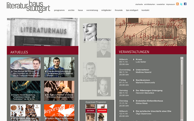 Screenshot: Startseite, Literaturhaus Stuttgart