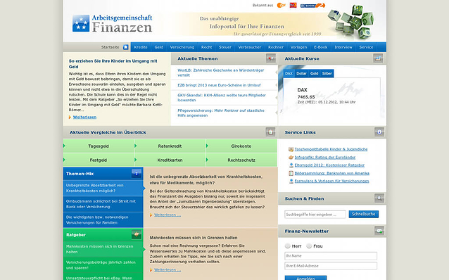 Screenshot: Startseite, Arbeitsgemeinschaft Finanzen Portal