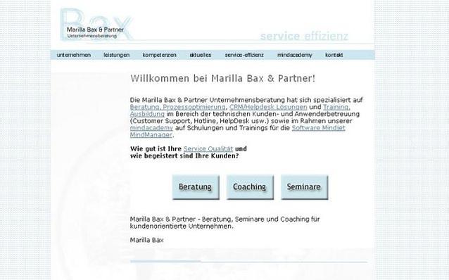 Screenshot: Startseite, marillabax Unternehmensberatung