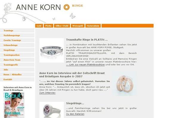 Screenshot: Startseite, Anne Korn Ringe