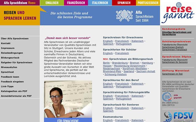 Screenshot: Startseite, Alfa Sprachreisen