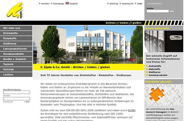 Screenshot: Startseite, Epple Chemie