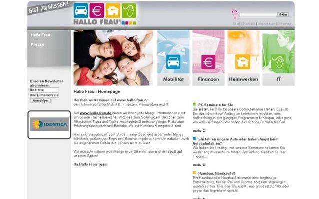 Screenshot: Startseite, Hallo Frau Portal