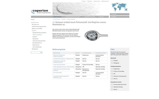 Screenshot: Facettierte Suche, Bereich Stellenangebote