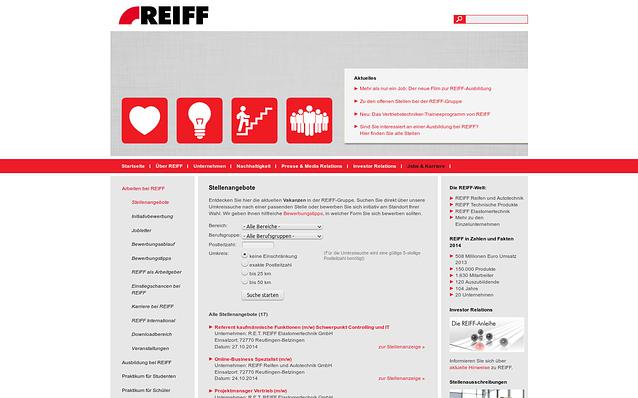 Screenshot: Suche nach Stellenangeboten, REIFF-Gruppe