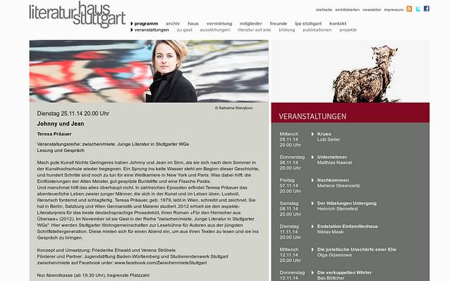 Screenshot: Veranstaltung, Literaturhaus Stuttgart