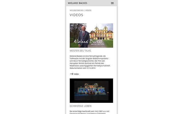 Screenshot: Videos, Mobilversion