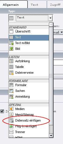 Verknüpfung im Spaltenmodus: Datensatz einfügen