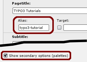 Alias field in TYPO3 page properties