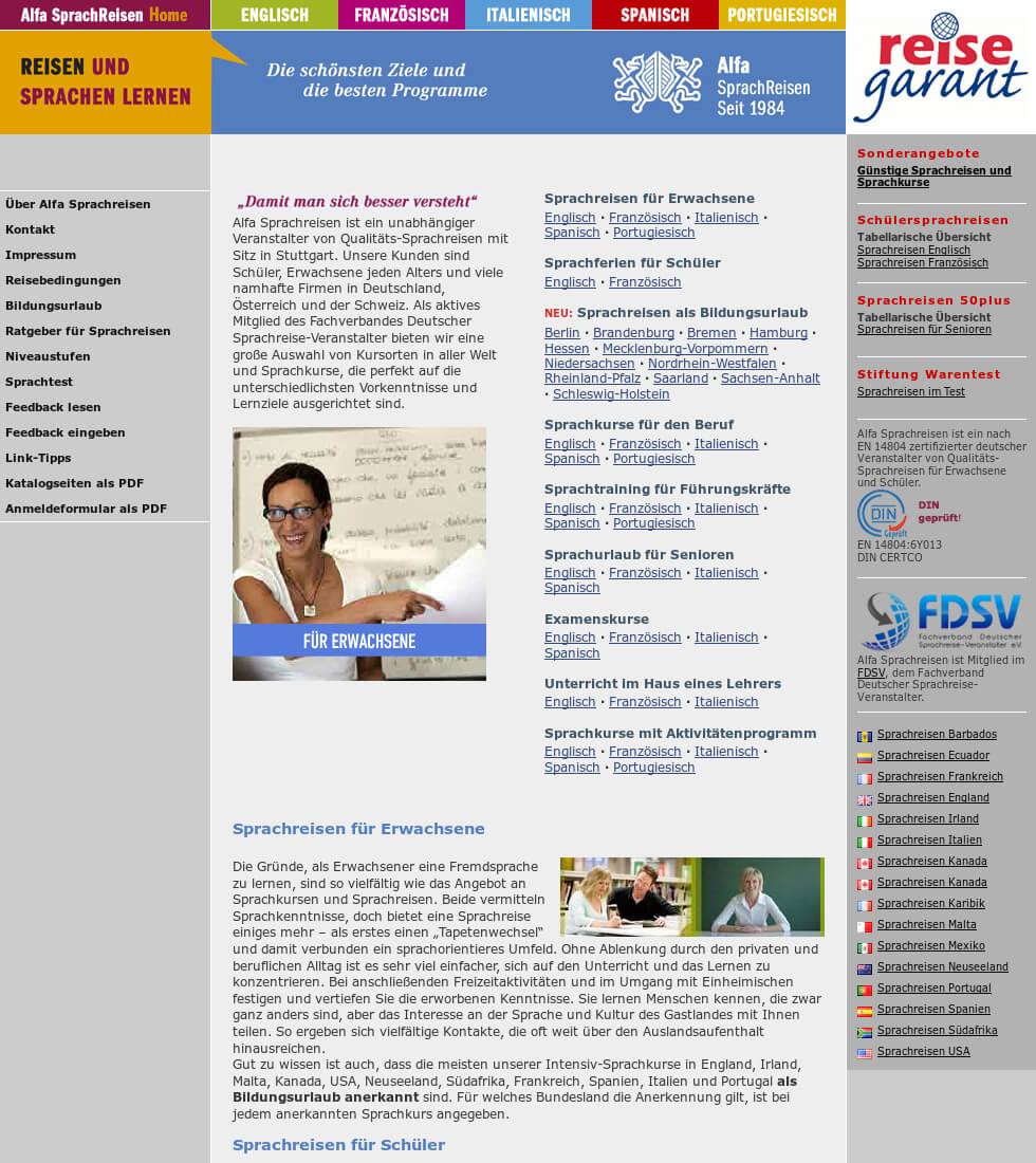 Referenzprojekt: Alfa Sprachreisen