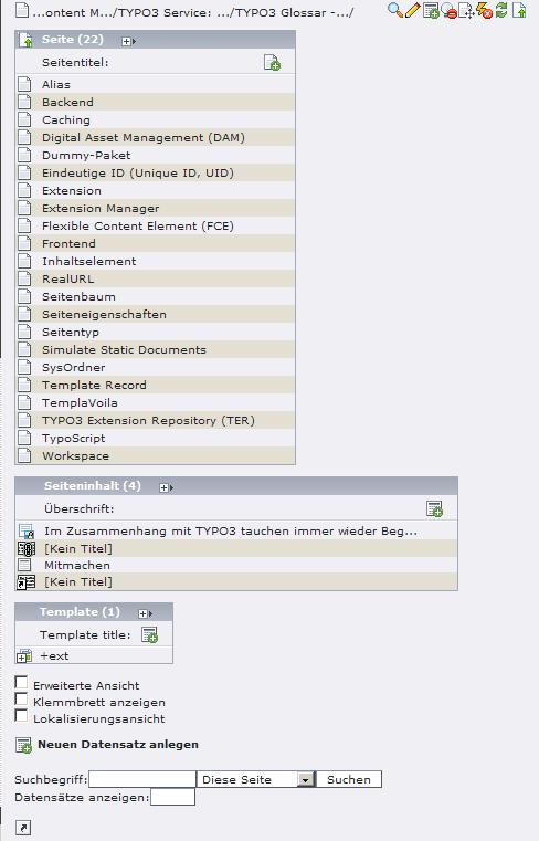 Standard-Ansicht der TYPO3 Listenansicht